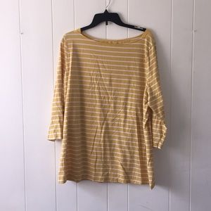 Yellow & White 2X Stretchy Quarter Sleeve Top